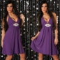 Preview: Sexy Party-Neck-Kleid mit Strassschnalle in Lila