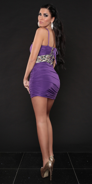 Sexy Party-Dress with Snakeprint and rhinestones